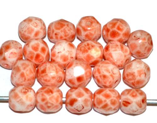 Best.Nr.:26597 facettierte Glasperlen red sand speckled finish, hergestellt in Gablonz Tschechien