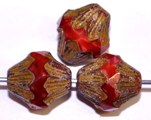 Best.Nr.:26599 Glasperlen mit facettiertem Band,  rot opak und burning silver picasso finish,  hergestellt in Gablonz / Tschechien