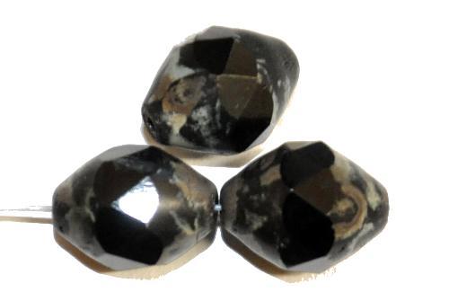 Best.Nr.:26607 Glasperlen schwarz mit facettiertem Band  und picasso finish, hergestellt in Gablonz / Tschechien