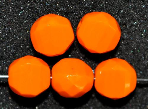 Best.Nr.:26607 geschliffene Glasperlen   Multi Cut Beads   orange opak,  hergestellt in Gablonz / Tschechien
