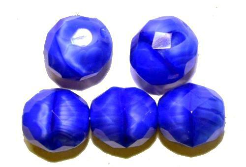 Best.Nr.:26611 facettierte Glasperlen Perlettglas blau, hergestellt in Gablonz / Tschechien