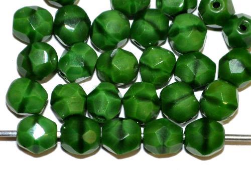 Best.Nr.:26631 facettierte Glasperlen,  grün opak,  hergestellt in Gablonz / Tschechien