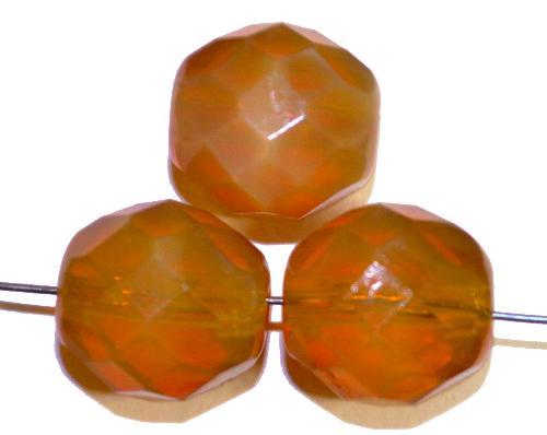 Best.Nr.:26636 facettierte Glasperlen,  Opalglas camel,  hergestellt in Gablonz / Tschechien