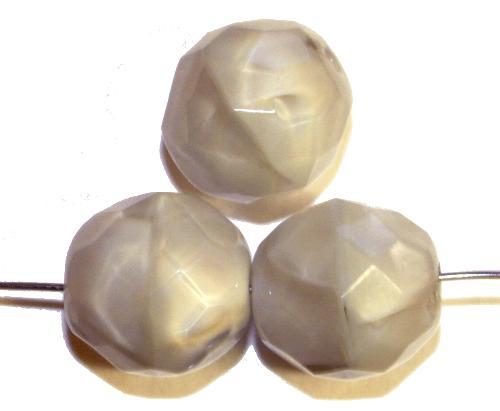 Best.Nr.:26639  facettierte Glasperlen,  Perlettglas hellgrau,  hergestellt in Gablonz / Tschechien