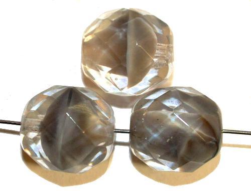 Best.Nr.:26640 facettierte Glasperlen,  grau kristall,  hergestellt in Gablonz / Tschechien