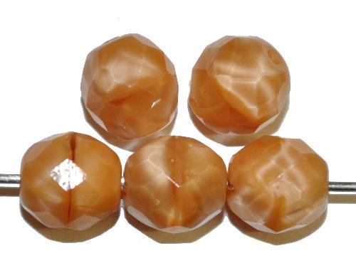 Best.Nr.:26643 facettierte Glasperlen,  Perlettglas camel,  hergestellt in Gablonz / Tschechien