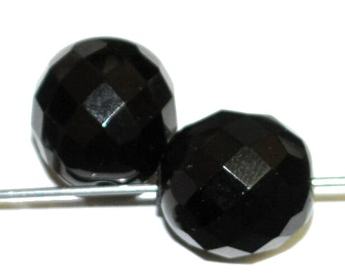 Best.Nr.:26648 facettierte Glasperlen schwarz opak, hergestellt in Gablonz / Tschechien