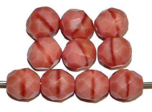 Best.Nr.:26651 facettierte Glasperlen  rosa opak,  hergestellt in Gablonz / Tschechien