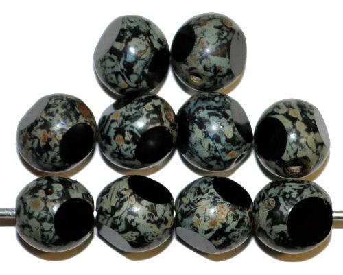 Best.Nr.:26660 Glasperlen, 3 Seiten geschliffen  schwarz mit picasso finish,  hergestellt in Gablonz / Tschechien