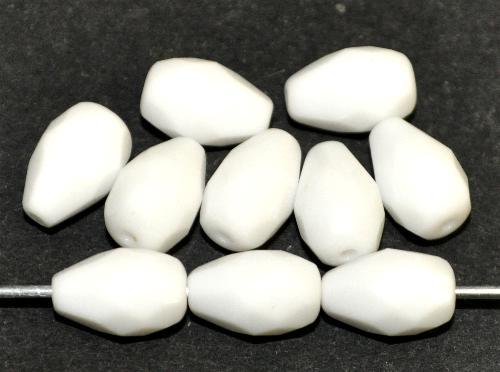 Best.Nr.:26662  facettierte Glasperlen Tropfen  weiß opak,  hergestellt in Gablonz / Tschechien