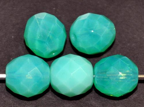 Best.Nr.:26670 facettierte Glasperlen  Opalglas türkisgrün,  hergestellt in Gablonz / Tschechien