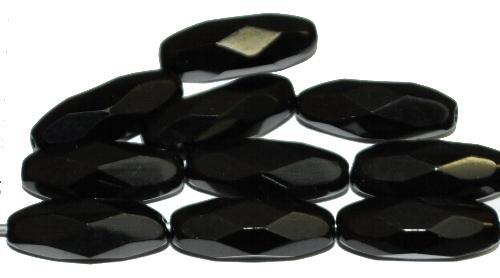 Best.Nr.:26675 Glasperlen geschliffen Oliven schwarz, hergestellt in Gablonz / Tschechien