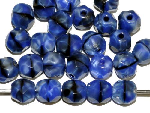 Best.Nr.:26677  facettierte Glasperlen,  Perlettglas blau,  hergestellt in Gablonz / Tschechien
