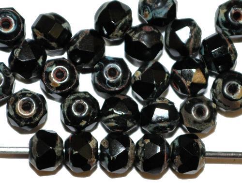 Best.Nr.:26678 facettierte Glasperlen / Barockperlen  schwarz mit picasso finish, hergestellt in Gablonz / Tschechien
