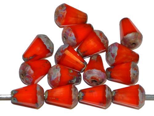 Best.Nr.:26679 Glasperlen Tropfen geschliffen, Perlettglas orange mit picasso finish, hergestellt in Gablonz / Tschechien