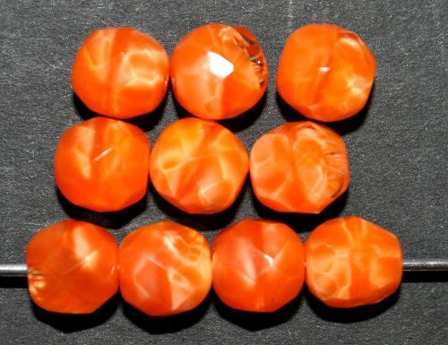 Best.Nr.:26693 facettierte Glasperlen,  Perlettglas orange,  hergestellt in Gablonz / Tschechien