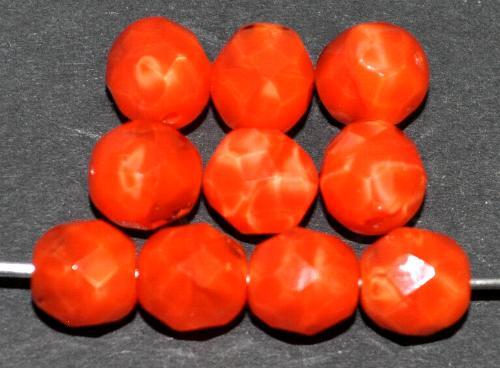 Best.Nr.:26694  facettierte Glasperlen,  Perlettglas orangerot,  hergestellt in Gablonz / Tschechien