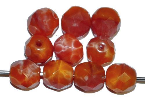 Best.Nr.:26699 facettierte Glasperlen,  Perlettglas orangegelb,  hergestellt in Gablonz / Tschechien