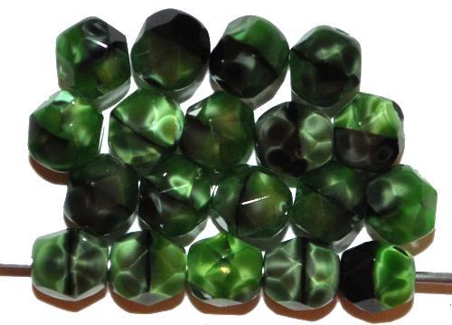 Best.Nr.:26700 facettierte Glasperlen,  Perlettglas grün,  hergestellt in Gablonz / Tschechien