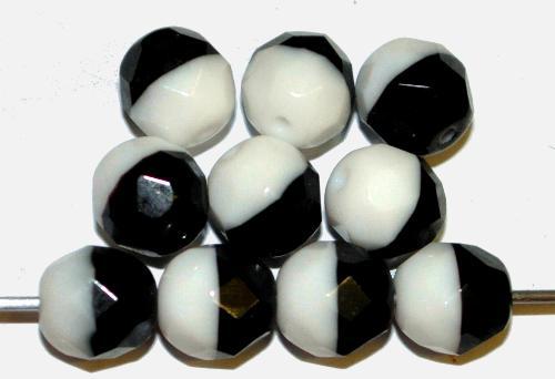 Best.Nr.:26701 facettierte Glasperlen  schwarz weiß opak,  hergestellt in Gablonz / Tschechien