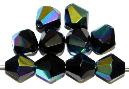 Best.Nr.:26710 facettierte Glasperlen  bicon schwarz mit AB,  hergestellt in Gablonz / Tschechien