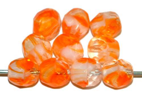 Best.Nr.:26711 facettierte Glasperlen  kristall orange weiß marmoriert,  hergestellt in Gablonz / Tschechien