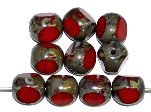 Best.Nr.:65062 Glasperlen / 3 Seiten geschliffen,  rot opak mit picasso finish  hergestellt in Gablonz / Tschechien