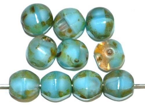 Best.Nr.:26721 Glasperlen geschliffen Multi Cut Beads  hellblau Perlettglas mit picasso finish, hergestellt in Gablonz / Tschechien