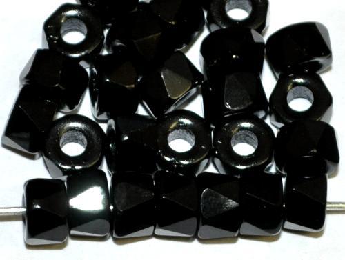 Best.Nr.:26111 Glasperlen facettiert schwarz opak, hergestellt in Gablonz / Tschechien