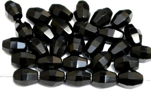 Best.Nr.:26723 Glasperlen geschliffen Oliven schwarz, hergestellt in Gablonz / Tschechien