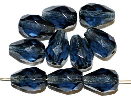 Best.Nr.:27031 facettierte Glasperlen Tropfen taubenblau transp., hergestellt in Gablonz / Tschechien