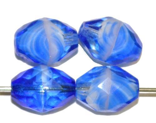 Best.Nr.:27034 geschliffene Glasperlen Oliven blau transp. marmoriert, hergestellt in Gablonz / Tschechien
