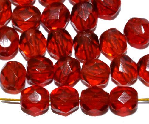 Best.Nr.:27039 facettierte Glasperlen  rot transp., hergestellt in Gablonz / Tschechien