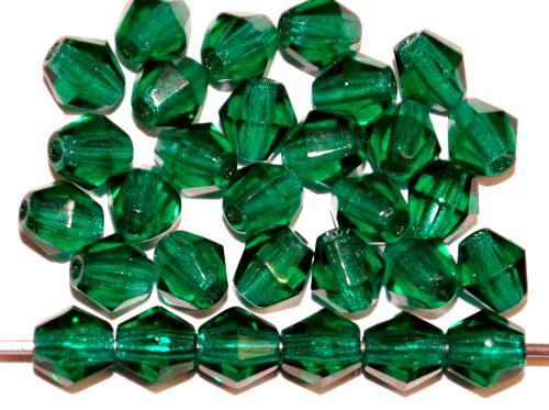 Best.Nr.:27069 facettierte Glasperlen biconen grün transp., hergestellt in Gablonz Tschechien