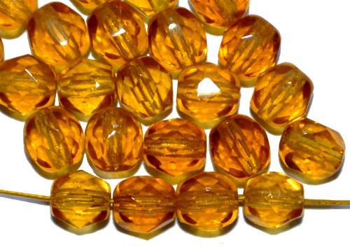 Best.Nr.:27073 facettierte Glasperlen  honiggelb hell, hergestellt in Gablonz / Tschechien