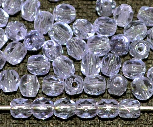Best.Nr.:27083 facettierte Glasperlen wechselt die Farbe unter Kunstlicht eher aqua, unter Tageslicht eher violett, hergestellt in Gablonz / Tschechien