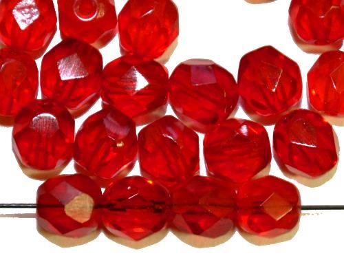 Best.Nr.:27106 facettierte Glasperlen  rot transp., hergestellt in Gablonz / Tschechien