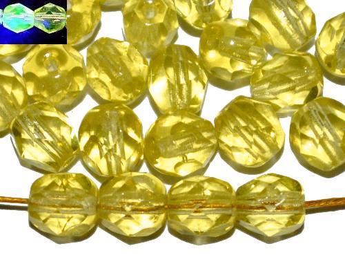 Best.Nr.:27110 facettierte Glasperlen  hellgelb uranium, hergestellt in Gablonz / Tschechien Uranglas