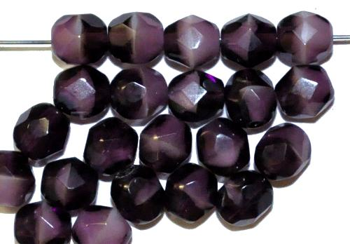 Best.Nr.:27126 facettierte Glasperlen  violett weiß,  hergestellt in Gablonz / Tschechien
