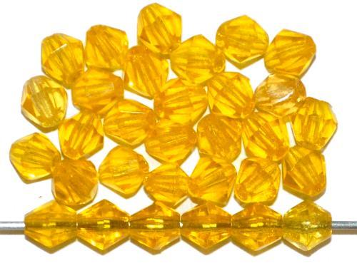 Best.Nr.:27145 facettierte Glasperlen biconen gelb transp., hergestellt in Gablonz Tschechien