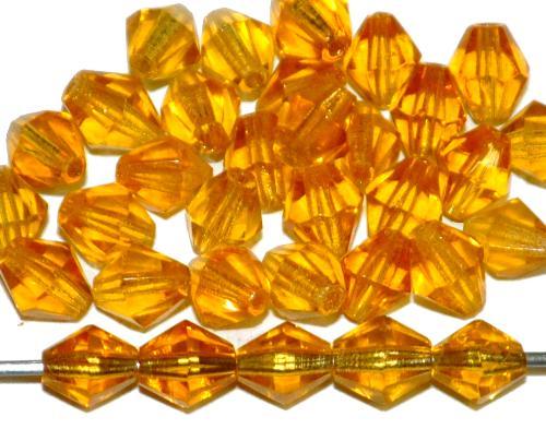 Best.Nr.:27147 Glasperlen biconen facettiert  honiggelb transp.,  hergestellt in Gablonz / Tschechien