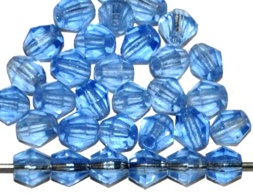 Best.Nr.:27156 Glasperlen biconen facettiert  aqua transp.,  hergestellt in Gablonz / Tschechien