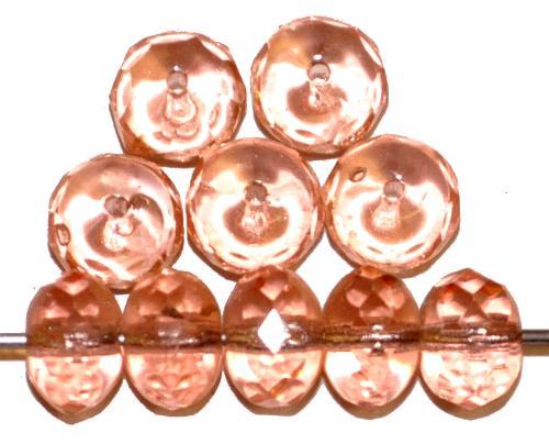 Best.Nr.:27158 Linse mit facettiertem Rand, rosa transp., hergestellt in Gablonz / Tschechien