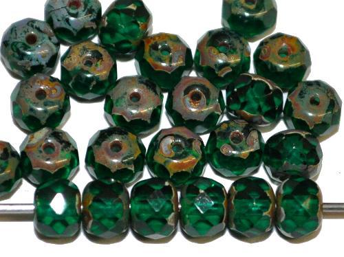 Best.Nr.:27162 Glasperlen mit facettiertem Rand Linse smaragdgrün transp. mit picasso finish, hergestellt in Gablonz / Tschechien