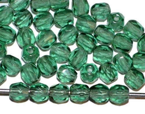 Best.Nr.:27163 facettierte Glasperlen russischgrün transp., hergestellt in Gablonz / Tschechien