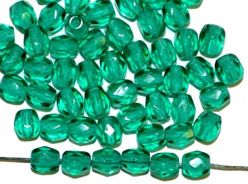 Best.Nr.:27174 facettierte Glasperlen smaragdgrün transp., hergestellt in Gablonz / Tschechien
