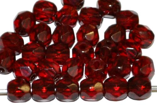 Best.Nr.:27193 Glasperlen facettiert  granatrot transp.,  hergestellt in Gablonz / Tschechien