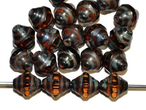 Best.Nr.:27202 facettierte Glasperlen / Barockperlen topas mit picasso finish, hergestellt in Gablonz / Tschechie