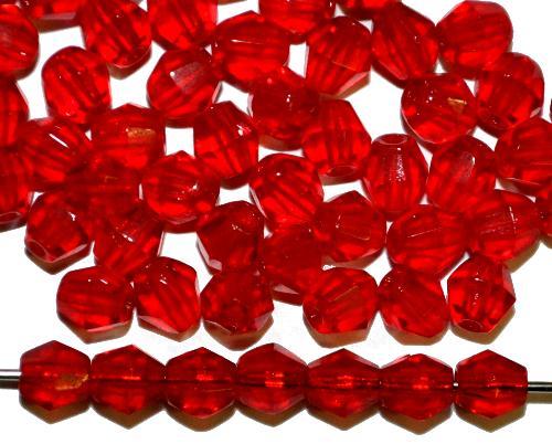 Best.Nr.:27222 facettierte Glasperlen Bicon rot transp., hergestellt in Gablonz / Tschechien