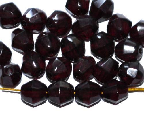 Best.Nr.:27252 facettierte Glasperlen  biconen granatrot dunkel, hergestellt in Gablonz / Tschechien
